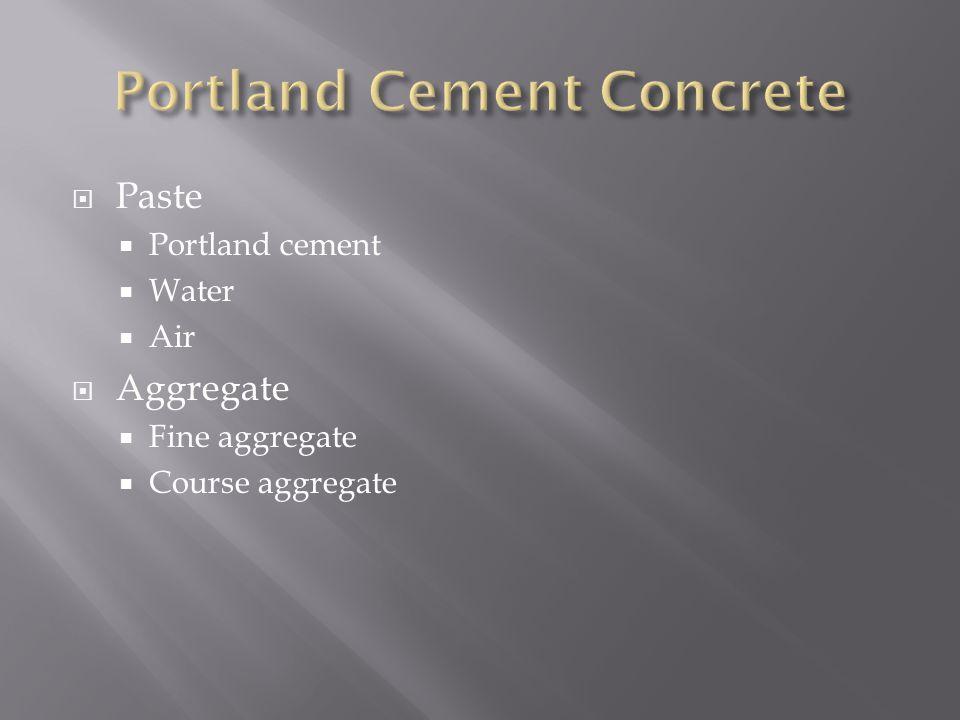  Paste  Portland cement  Water  Air  Aggregate  Fine aggregate  Course aggregate