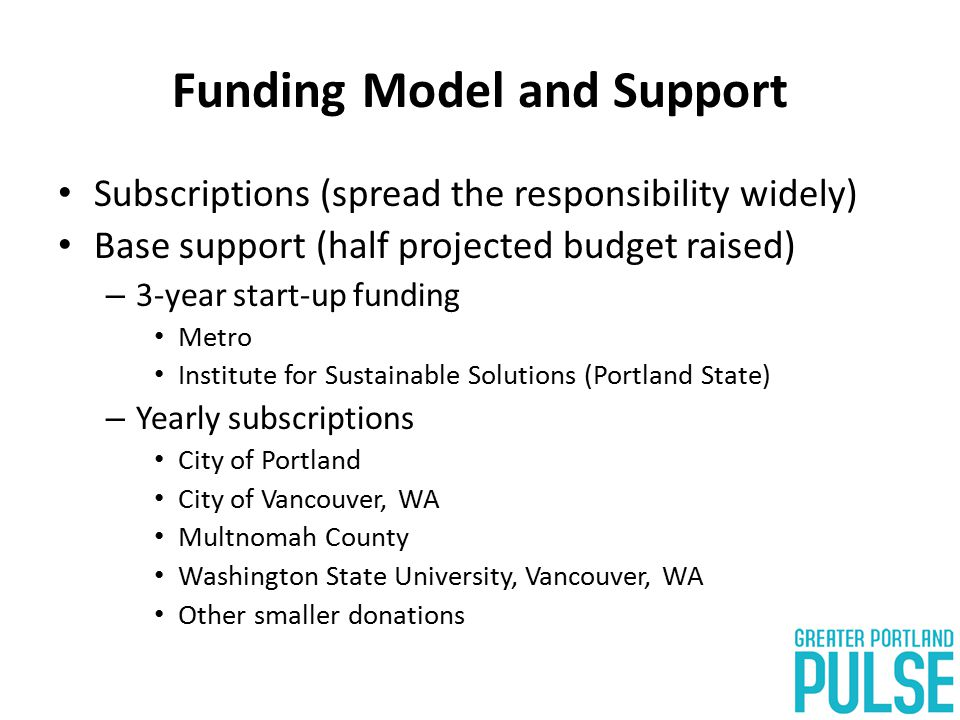 Funding Model and Support Subscriptions (spread the responsibility widely) Base support (half projected budget raised) – 3-year start-up funding Metro Institute for Sustainable Solutions (Portland State) – Yearly subscriptions City of Portland City of Vancouver, WA Multnomah County Washington State University, Vancouver, WA Other smaller donations