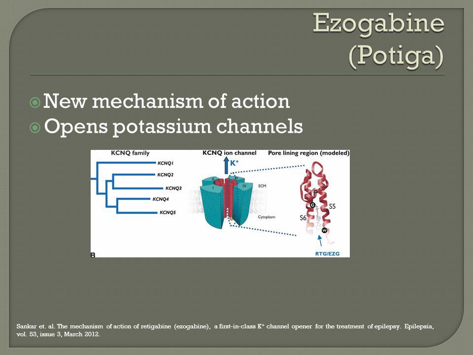 New mechanism of action  Opens potassium channels Sankar et. al. The mechanism of action of retigabine (ezogabine), a first-in-class K + channel op
