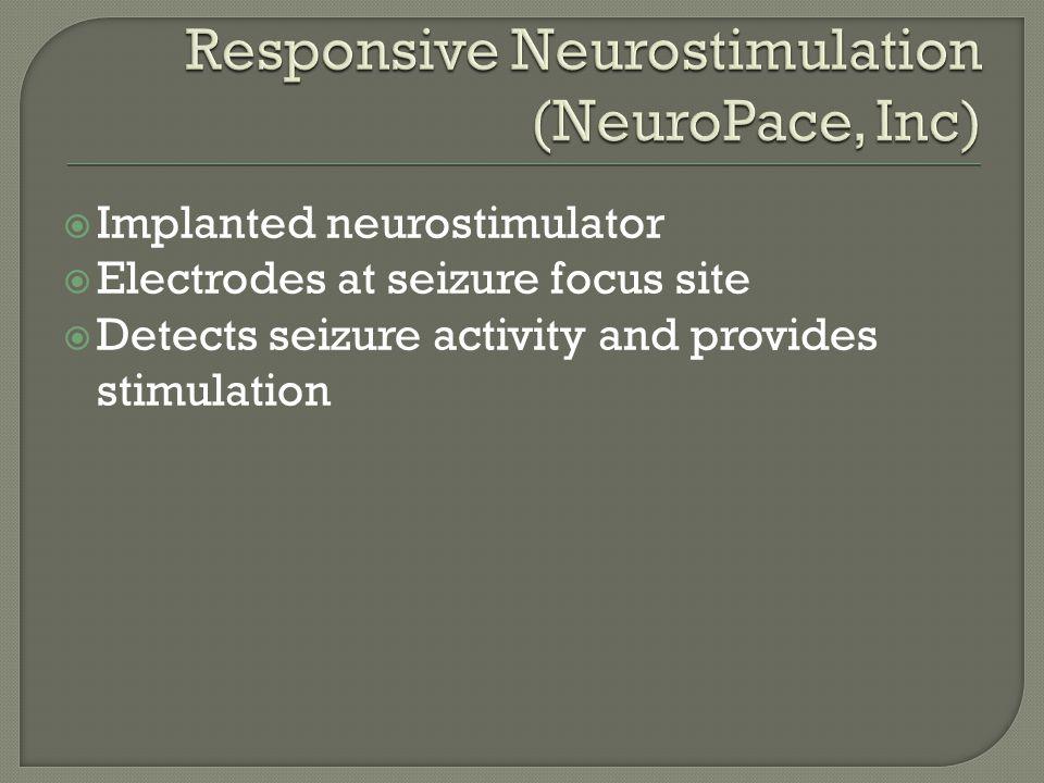  Implanted neurostimulator  Electrodes at seizure focus site  Detects seizure activity and provides stimulation