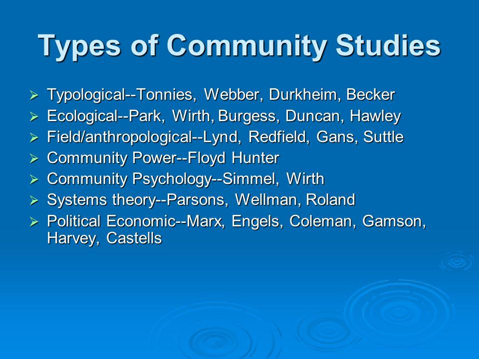 Types of Community Studies  Typological--Tonnies, Webber, Durkheim, Becker  Ecological--Park, Wirth, Burgess, Duncan, Hawley  Field/anthropological