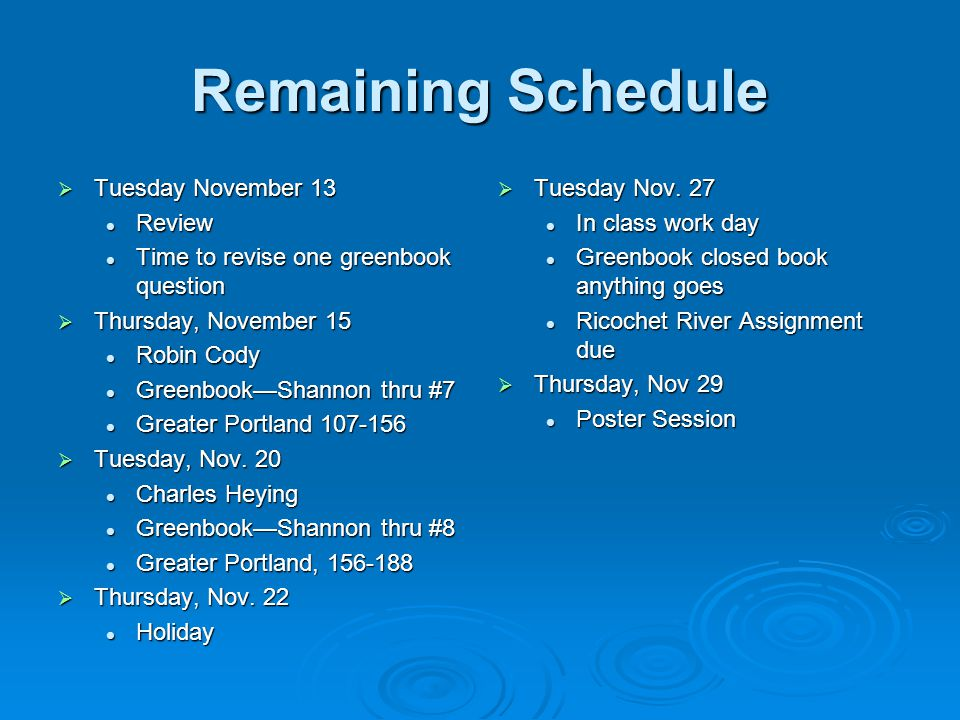 Remaining Schedule  Tuesday November 13 Review Review Time to revise one greenbook question Time to revise one greenbook question  Thursday, November 15 Robin Cody Robin Cody Greenbook—Shannon thru #7 Greenbook—Shannon thru #7 Greater Portland 107-156 Greater Portland 107-156  Tuesday, Nov.