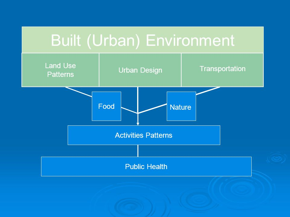 Built (Urban) Environment Land Use Patterns Urban Design Transportation Activities Patterns Public Health Food Nature