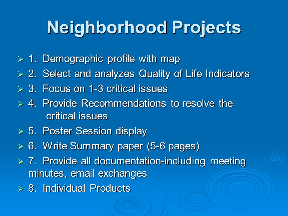 Neighborhood Projects  1. Demographic profile with map  2.