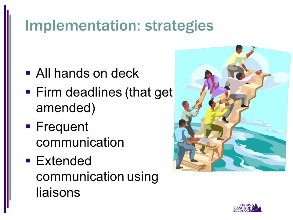 Implementation: strategies  All hands on deck  Firm deadlines (that get amended)  Frequent communication  Extended communication using liaisons