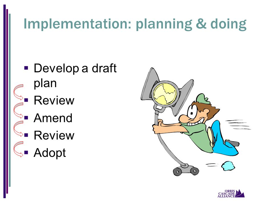Implementation: planning & doing  Develop a draft plan  Review  Amend  Review  Adopt