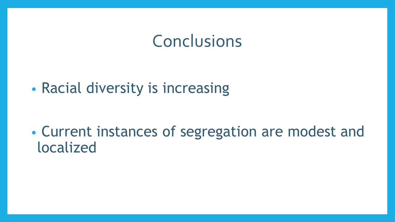 Conclusions Racial diversity is increasing Current instances of segregation are modest and localized