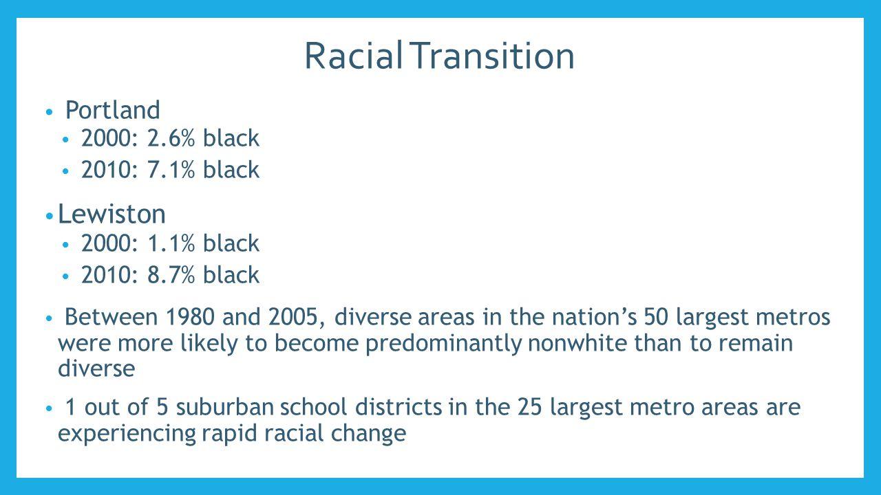 White Proportion in Metro Districts 198919992010 YARMOUTH98.6%98.3%94.2% CAPE ELIZABETH 97.8%98.1%93.2% RSU 15/ MSAD 15 99.0%98.0%94.8% FALMOUTH98.3%97.8%93.7% WESTBROOK97.4%96.0%86.2% 198919992010 GORHAM98.7%97.4%96.3% SOUTH PORTLAND 96.9%95.3%84.6% SCARBOROUGH99.5%98.3%94.7% PORTLAND90.5%84.8%64.8%