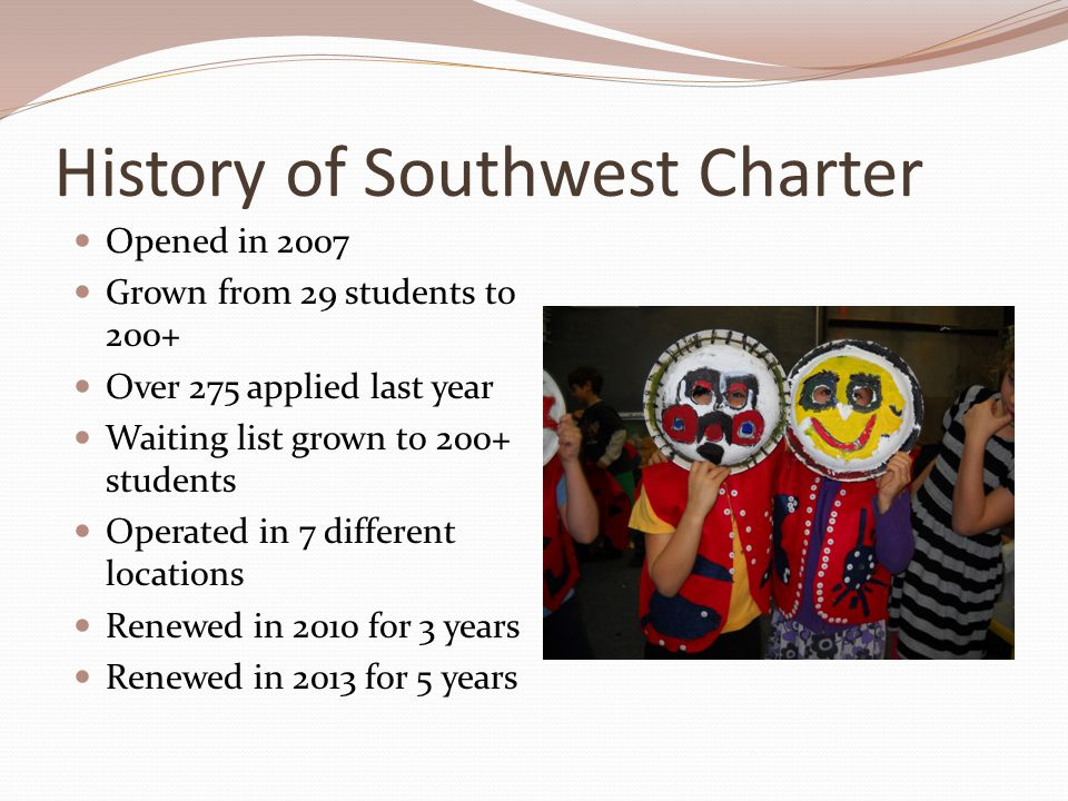 History of Southwest Charter Opened in 2007 Grown from 29 students to 200+ Over 275 applied last year Waiting list grown to 200+ students Operated in