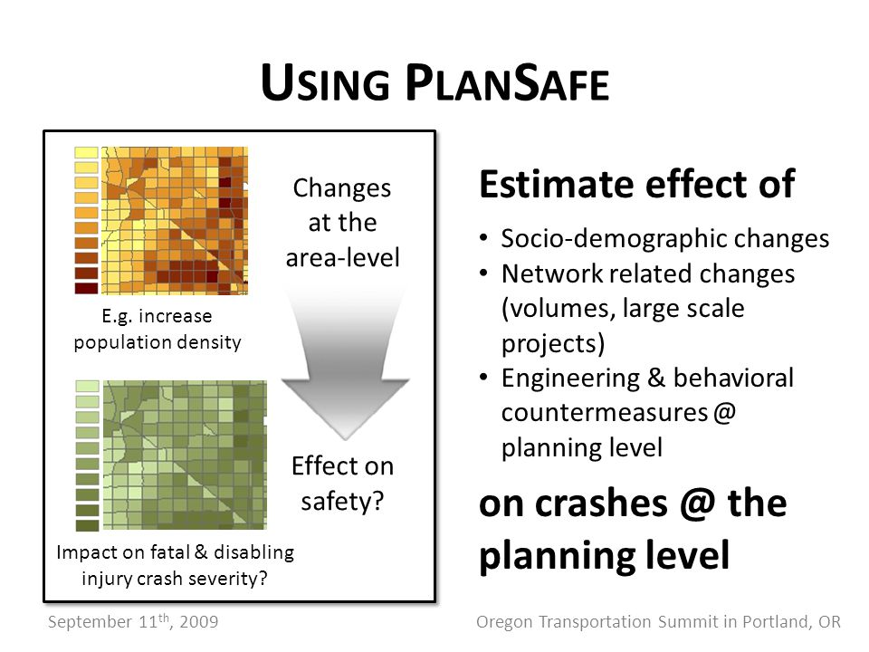 Changes at the area-level Effect on safety. E.g.