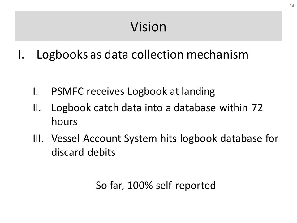 I.Logbooks as data collection mechanism I.PSMFC receives Logbook at landing II.Logbook catch data into a database within 72 hours III.Vessel Account System hits logbook database for discard debits So far, 100% self-reported Vision 14