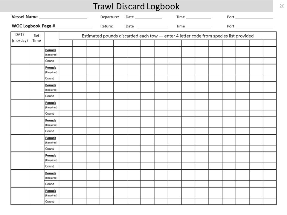 20 Trawl Discard Logbook