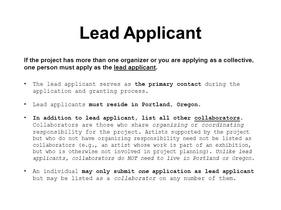 Lead Applicant If the project has more than one organizer or you are applying as a collective, one person must apply as the lead applicant.