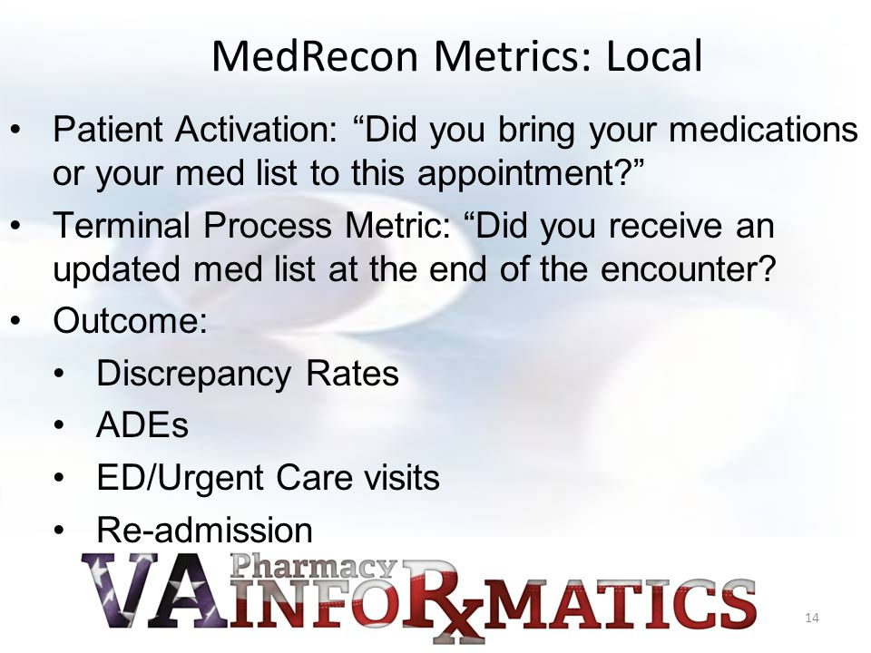 Patient Activation: Did you bring your medications or your med list to this appointment Terminal Process Metric: Did you receive an updated med list at the end of the encounter.