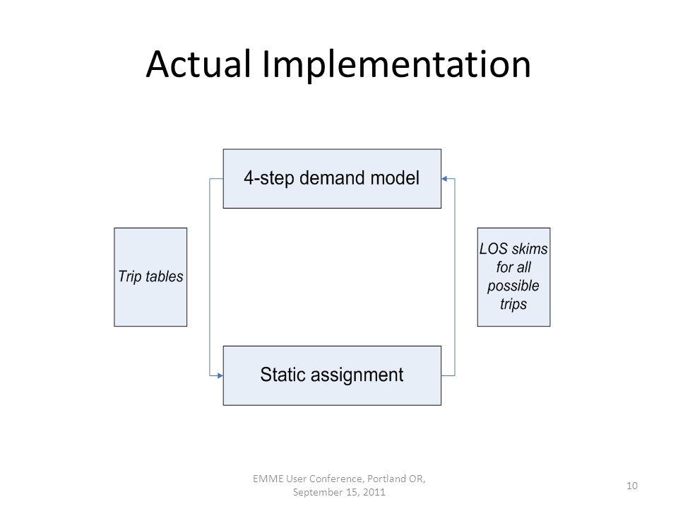 Actual Implementation EMME User Conference, Portland OR, September 15, 2011 10