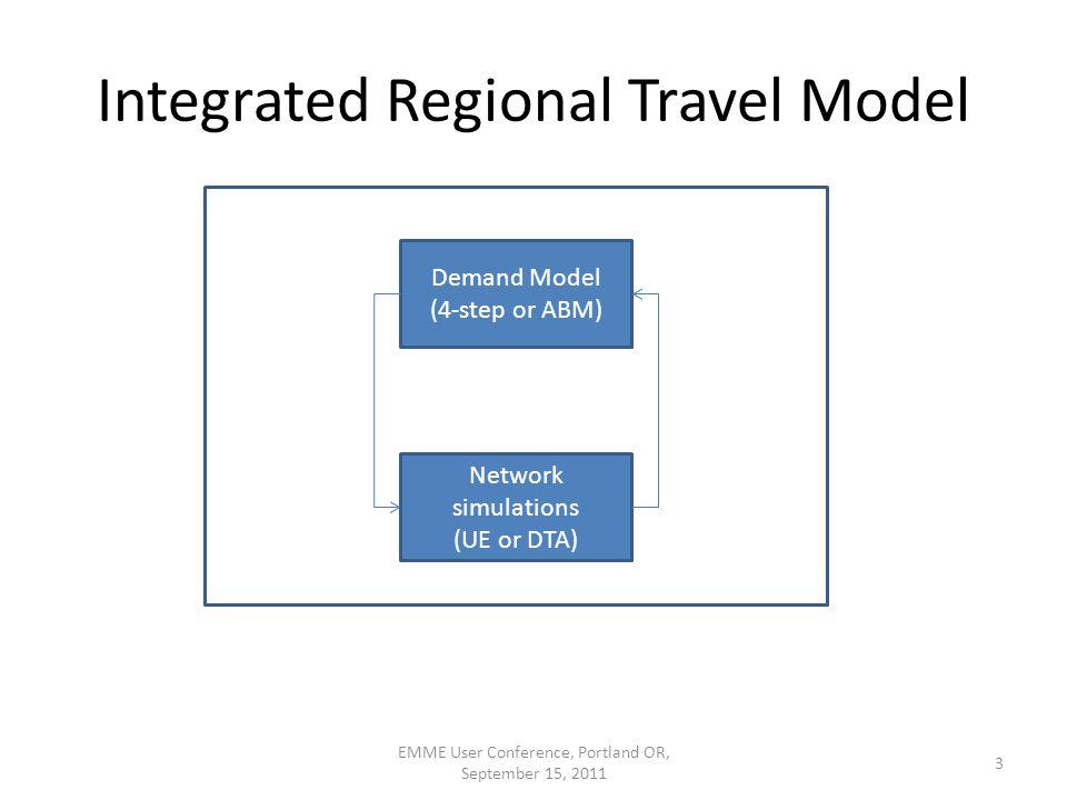 Integrated Regional Travel Model EMME User Conference, Portland OR, September 15, 2011 3 Demand Model (4-step or ABM) Network simulations (UE or DTA)