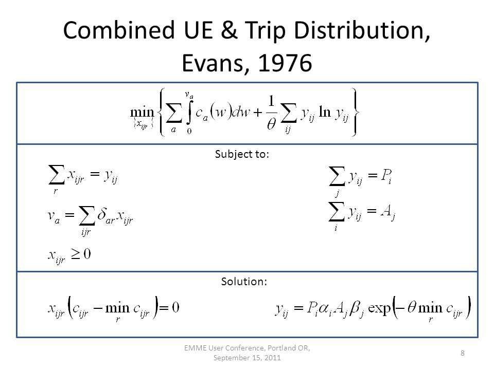 Combined UE & Trip Distribution, Evans, 1976 EMME User Conference, Portland OR, September 15, 2011 8 Subject to: Solution: