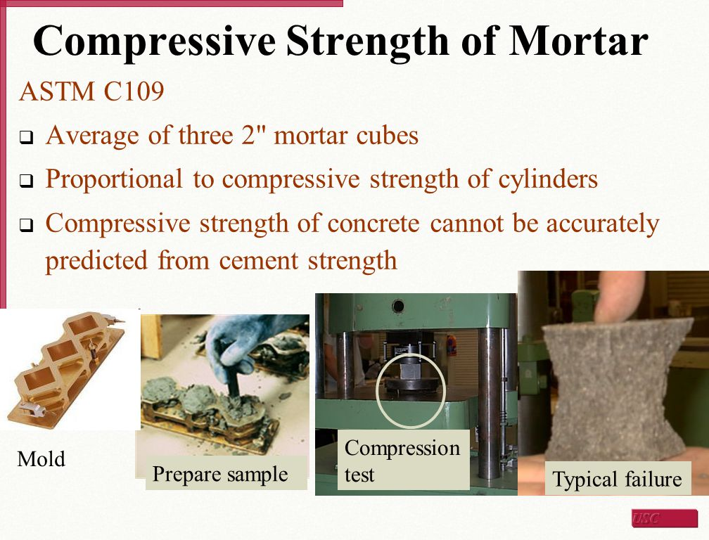 Compressive Strength of Mortar ASTM C109  Average of three 2