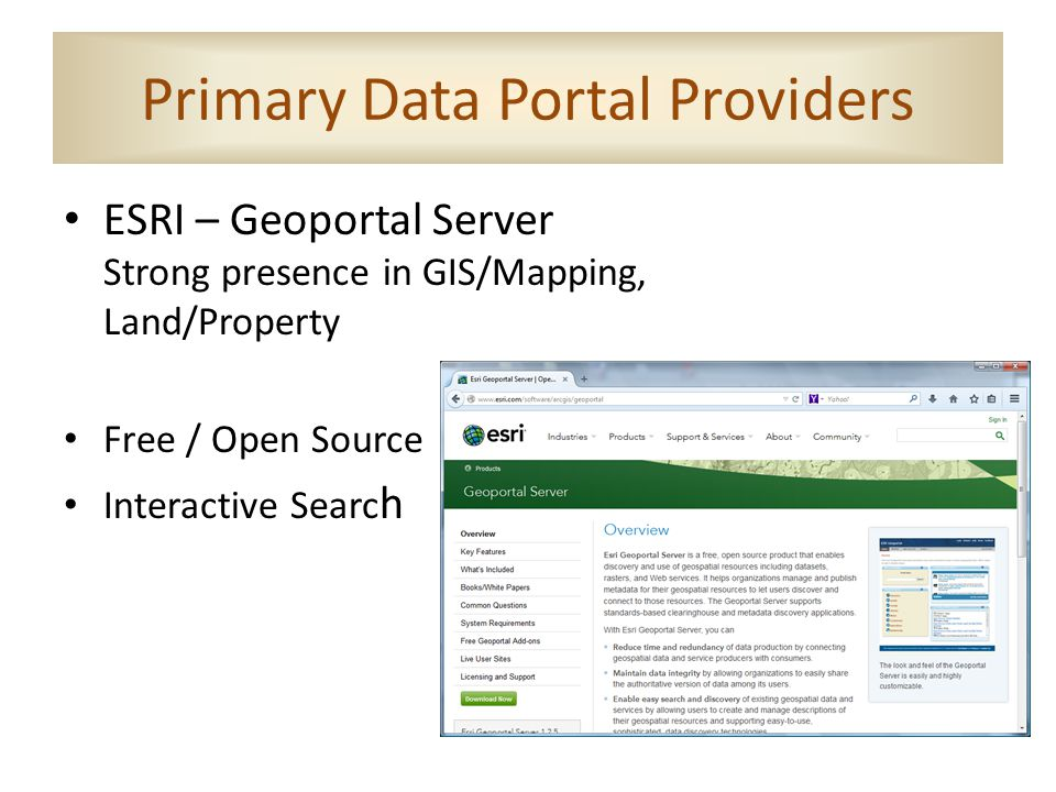 Primary Data Portal Providers ESRI – Geoportal Server Strong presence in GIS/Mapping, Land/Property Free / Open Source Interactive Searc h