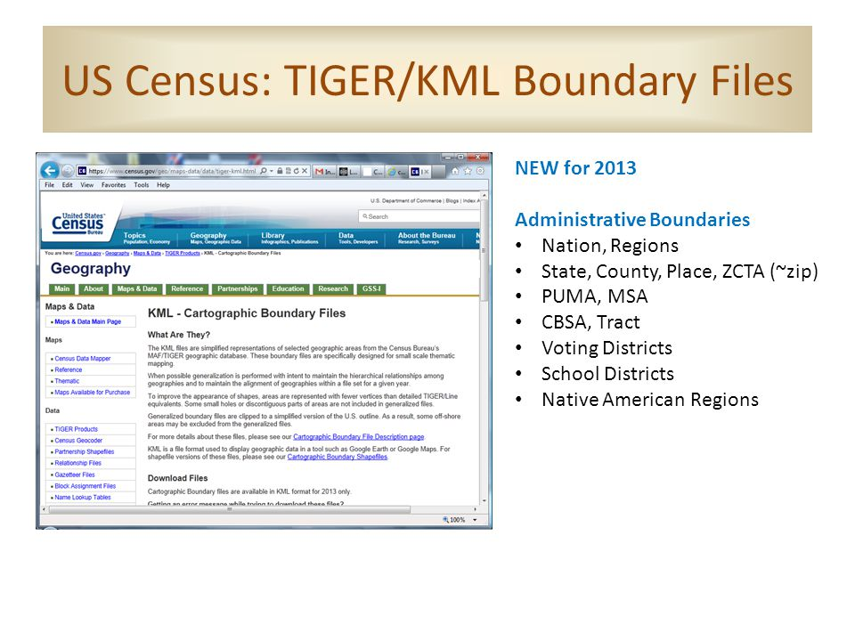 US Census: TIGER/KML Boundary Files NEW for 2013 Administrative Boundaries Nation, Regions State, County, Place, ZCTA (~zip) PUMA, MSA CBSA, Tract Voting Districts School Districts Native American Regions