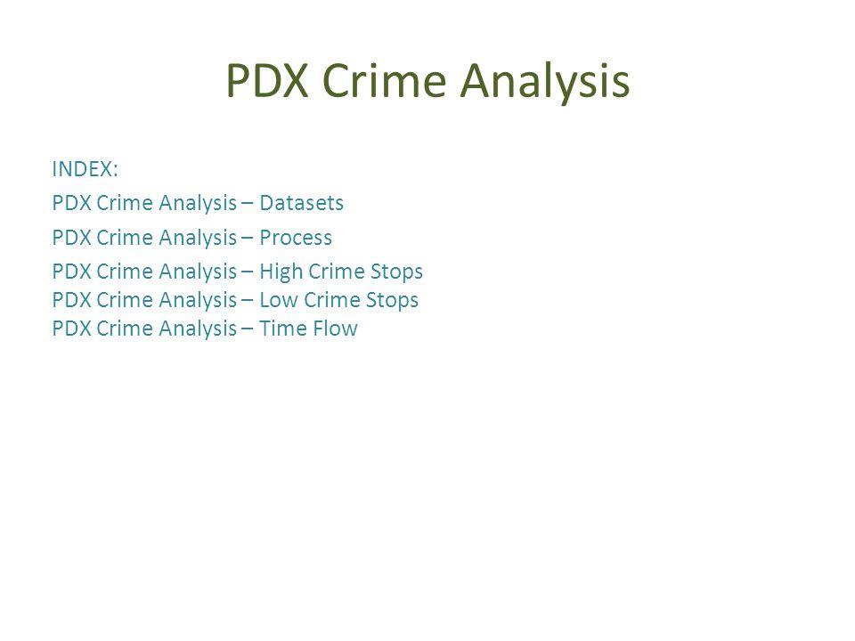 PDX Crime Analysis INDEX: PDX Crime Analysis – Datasets PDX Crime Analysis – Process PDX Crime Analysis – High Crime Stops PDX Crime Analysis – Low Crime Stops PDX Crime Analysis – Time Flow
