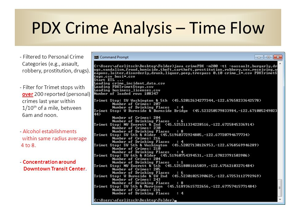 PDX Crime Analysis – Time Flow - Filtered to Personal Crime Categories (e.g., assault, robbery, prostitution, drugs).