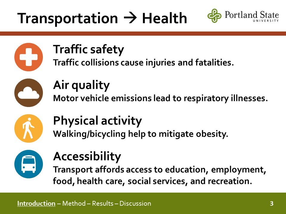 Transportation  Health 3 Introduction – Method – Results – Discussion Traffic safety Traffic collisions cause injuries and fatalities.