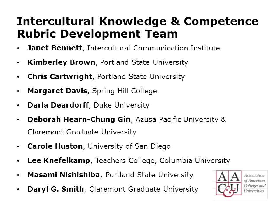 Intercultural Knowledge & Competence Rubric Development Team Janet Bennett, Intercultural Communication Institute Kimberley Brown, Portland State University Chris Cartwright, Portland State University Margaret Davis, Spring Hill College Darla Deardorff, Duke University Deborah Hearn-Chung Gin, Azusa Pacific University & Claremont Graduate University Carole Huston, University of San Diego Lee Knefelkamp, Teachers College, Columbia University Masami Nishishiba, Portland State University Daryl G.