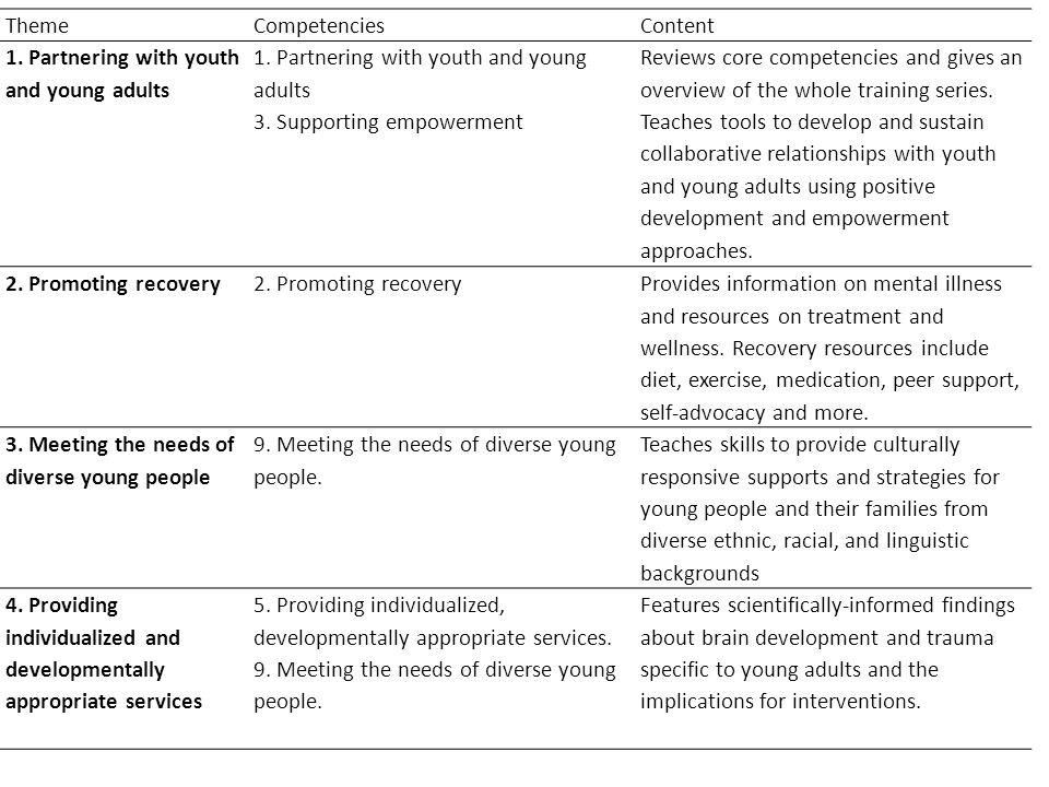 ThemeCompetenciesContent 1. Partnering with youth and young adults 3.