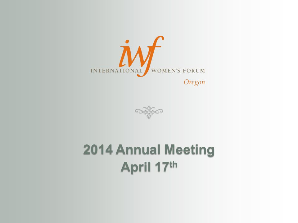 2014 Annual Meeting April 17 th