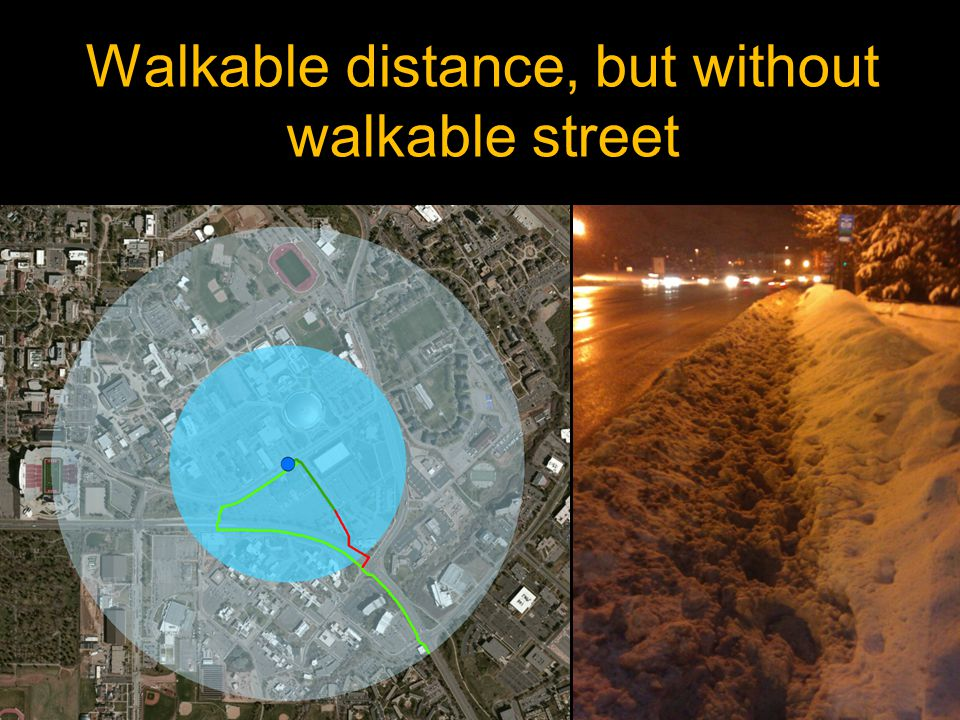 Walkable distance, but without walkable street