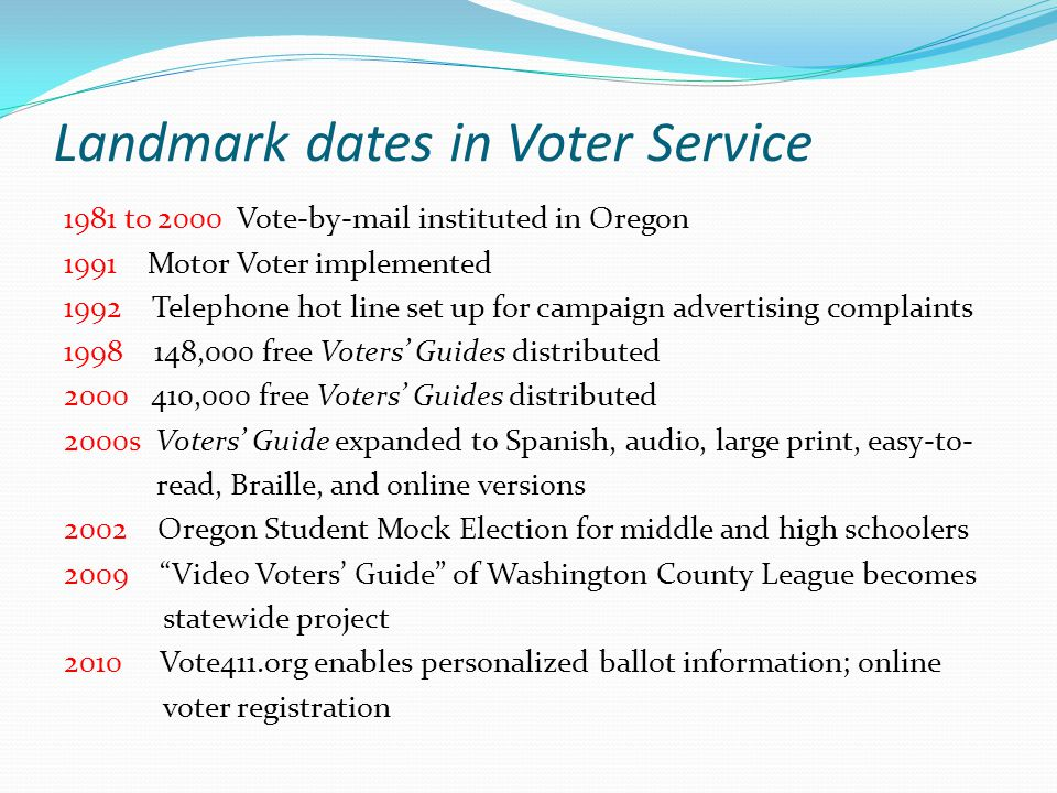 Landmark dates in Voter Service 1981 to 2000 Vote-by-mail instituted in Oregon 1991 Motor Voter implemented 1992 Telephone hot line set up for campaign advertising complaints 1998 148,000 free Voters' Guides distributed 2000 410,000 free Voters' Guides distributed 2000s Voters' Guide expanded to Spanish, audio, large print, easy-to- read, Braille, and online versions 2002 Oregon Student Mock Election for middle and high schoolers 2009 Video Voters' Guide of Washington County League becomes statewide project 2010 Vote411.org enables personalized ballot information; online voter registration