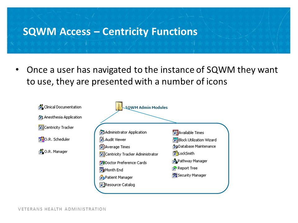 VETERANS HEALTH ADMINISTRATION SQWM Access – Centricity Functions Once a user has navigated to the instance of SQWM they want to use, they are present