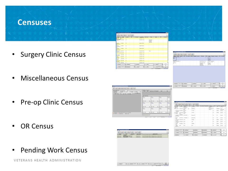 VETERANS HEALTH ADMINISTRATION Censuses Surgery Clinic Census Miscellaneous Census Pre-op Clinic Census OR Census Pending Work Census