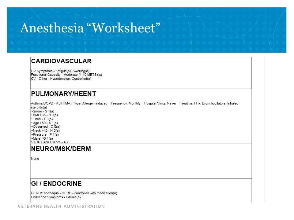 "VETERANS HEALTH ADMINISTRATION Anesthesia ""Worksheet"""