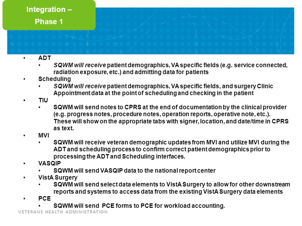 VETERANS HEALTH ADMINISTRATION Training Integration – Common Questions Will Medications integration be available in SQWM during phase 1.