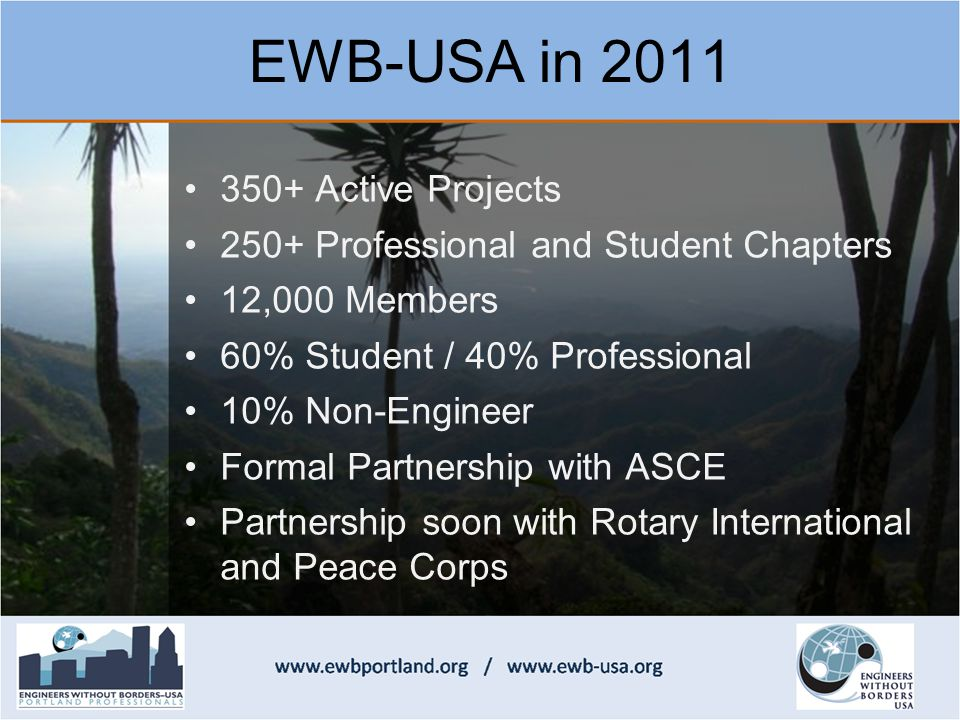 350+ Active Projects 250+ Professional and Student Chapters 12,000 Members 60% Student / 40% Professional 10% Non-Engineer Formal Partnership with ASCE Partnership soon with Rotary International and Peace Corps EWB-USA in 2011