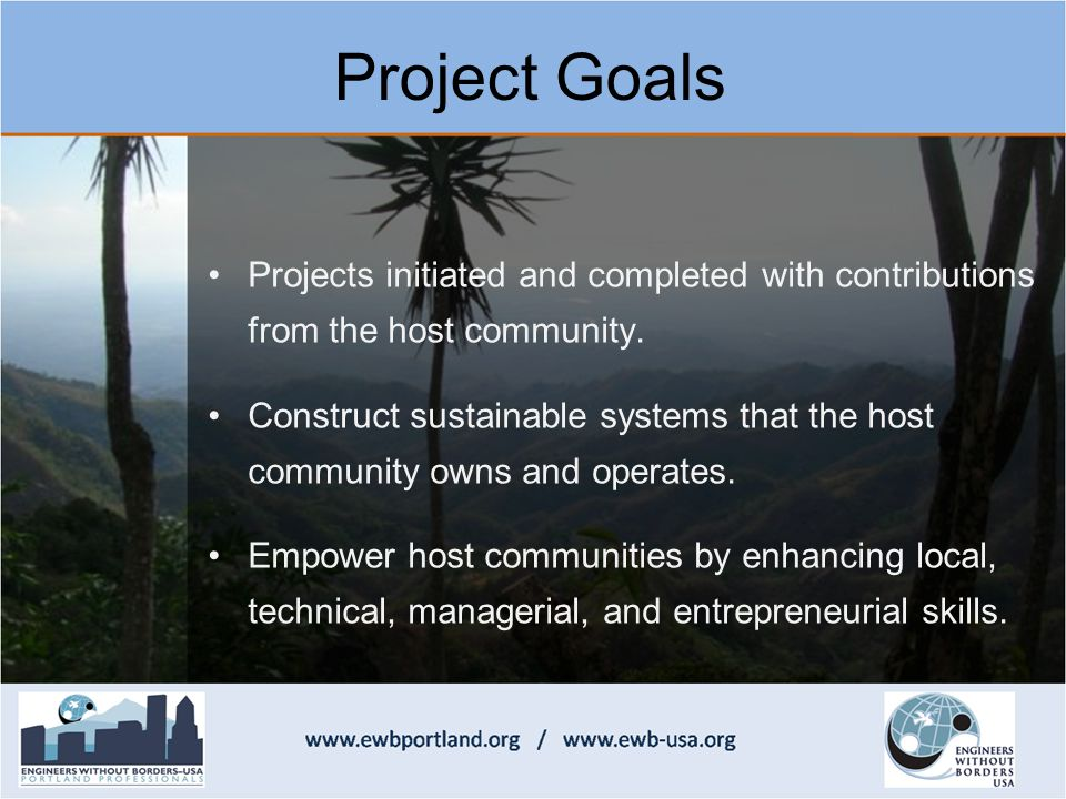 Projects initiated and completed with contributions from the host community.