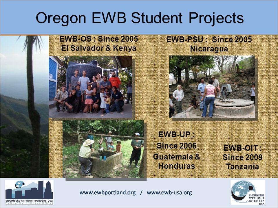 EWB-OS : Since 2005 El Salvador & Kenya EWB-PSU : Since 2005 Nicaragua Oregon EWB Student Projects EWB-UP : Since 2006 Guatemala & Honduras EWB-OIT : Since 2009 Tanzania