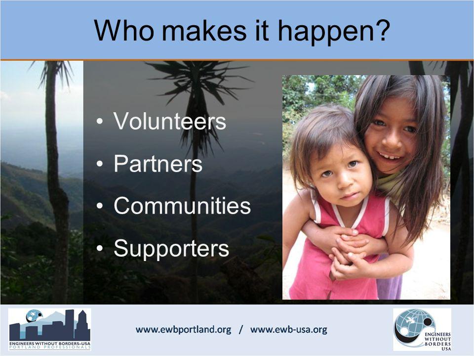 Volunteers Partners Communities Supporters Who makes it happen