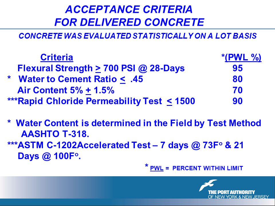 ACCEPTANCE CRITERIA FOR DELIVERED CONCRETE CONCRETE WAS EVALUATED STATISTICALLY ON A LOT BASIS Criteria *(PWL %) Flexural Strength > 700 PSI @ 28-Days 95 * Water to Cement Ratio <.45 80 Air Content 5% + 1.5% 70 ***Rapid Chloride Permeability Test < 1500 90 * Water Content is determined in the Field by Test Method AASHTO T-318.
