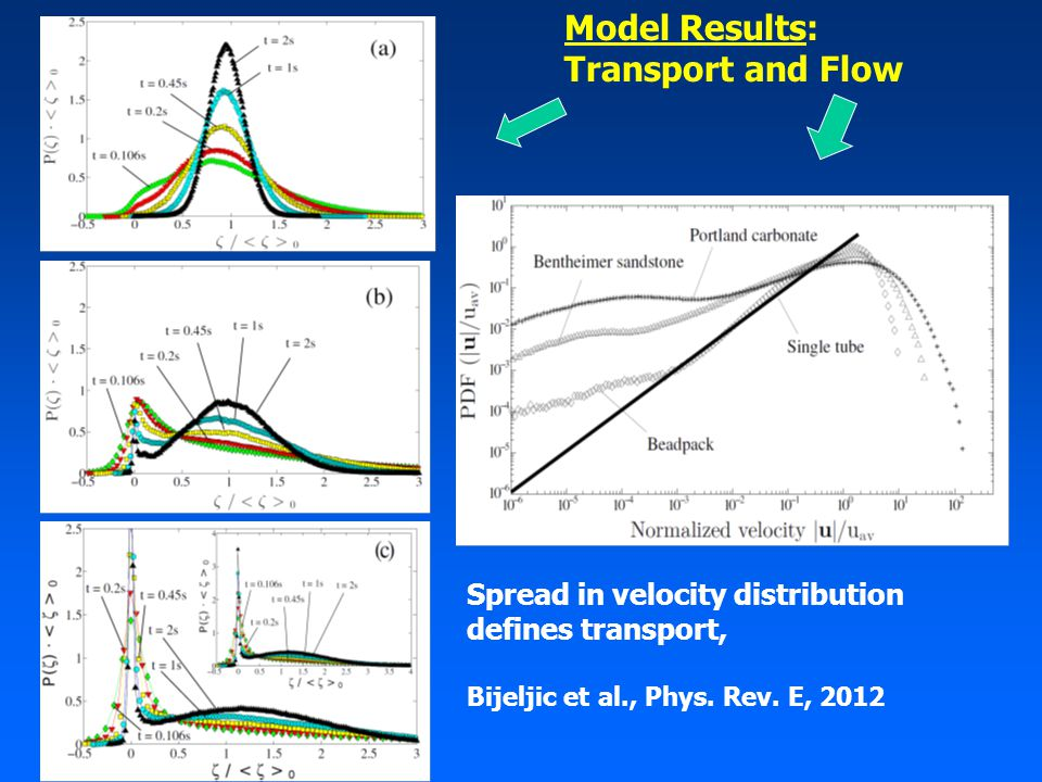 Model Results: Transport and Flow Spread in velocity distribution defines transport, Bijeljic et al., Phys.