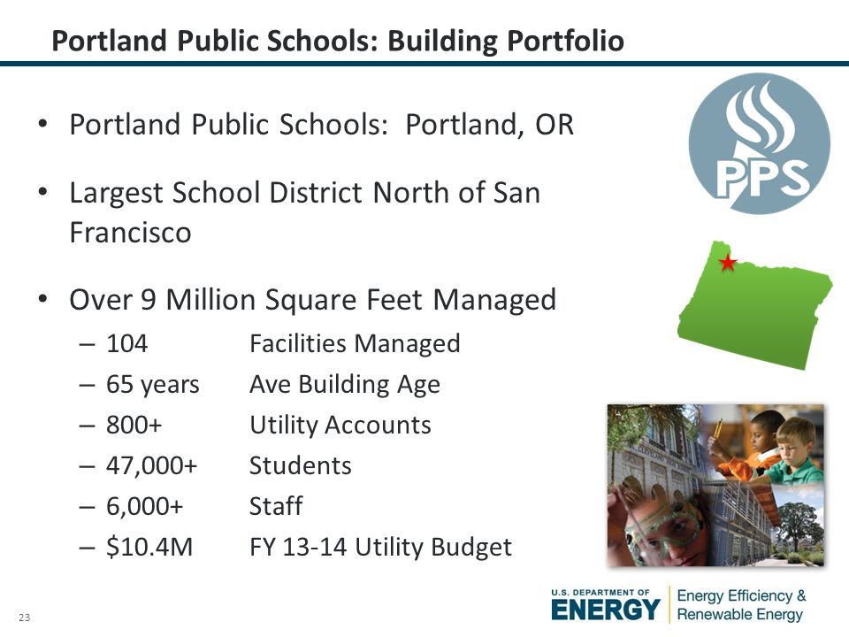 23 Portland Public Schools: Portland, OR Largest School District North of San Francisco Over 9 Million Square Feet Managed – 104 Facilities Managed –