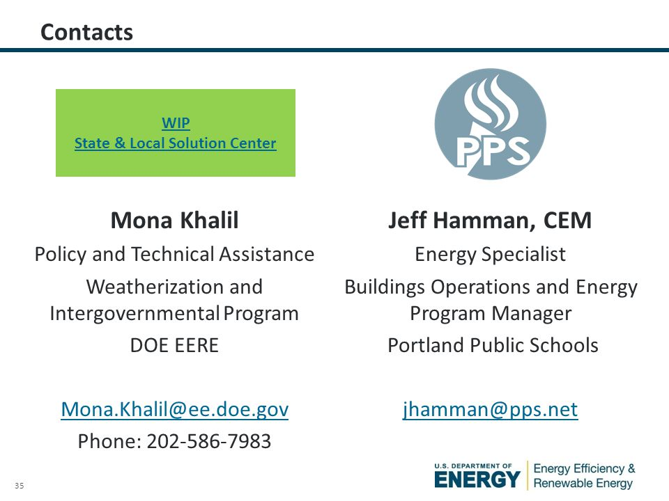 35 Contacts Mona Khalil Policy and Technical Assistance Weatherization and Intergovernmental Program DOE EERE Mona.Khalil@ee.doe.gov Phone: 202-586-79