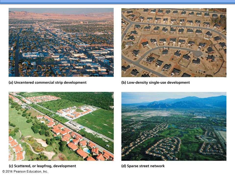Sprawl has several causes  Two major factors contribute to sprawl: population growth and per capita land consumption  The amount of sprawl equals population size times the amount of land the average person occupies  Cities vary in which is more important  More people in Los Angeles vs.