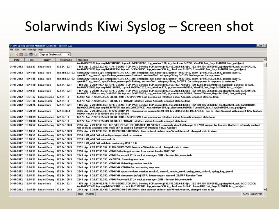 Solarwinds Kiwi Syslog – Screen shot