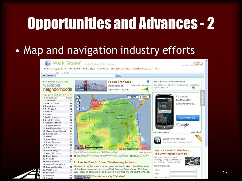 Opportunities and Advances - 2 Map and navigation industry efforts 17