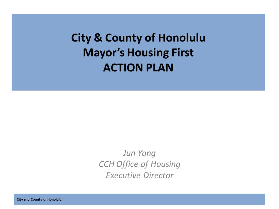 City and County of Honolulu Demographic of Honolulu's Homeless Persons Honolulu 2013 Point In Time Count 4,556 homeless persons 1,465 unsheltered homeless 505 chronically homeless Unsheltered: 78% severely mentally ill 55% chronic substance abusers 29% both mentally ill and chronic substance abuser