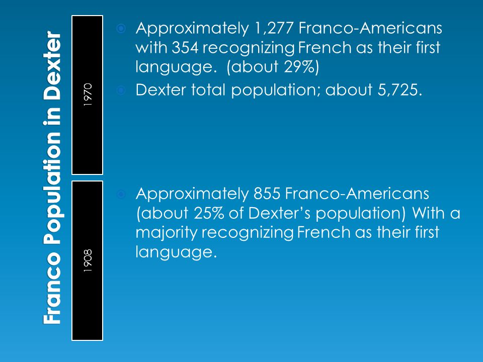 1970 1908  Approximately 1,277 Franco-Americans with 354 recognizing French as their first language. (about 29%)  Dexter total population; about 5,7