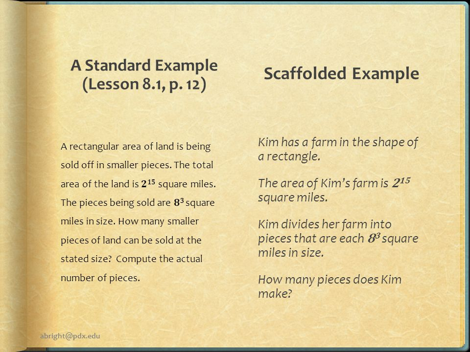 A Standard Example (Lesson 8.1, p.